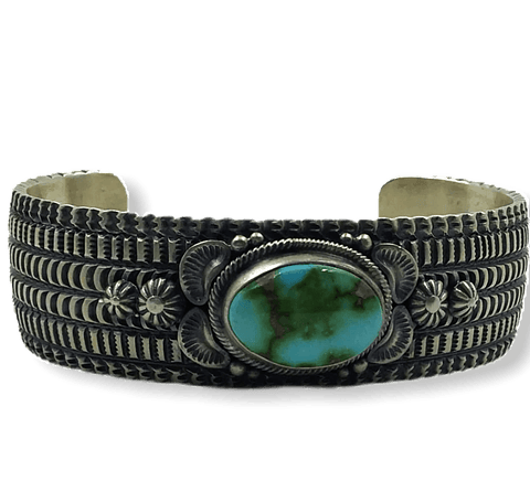 Image of Native American Jewelry - Navajo Sonoran Turquoise Cuff Bracelet