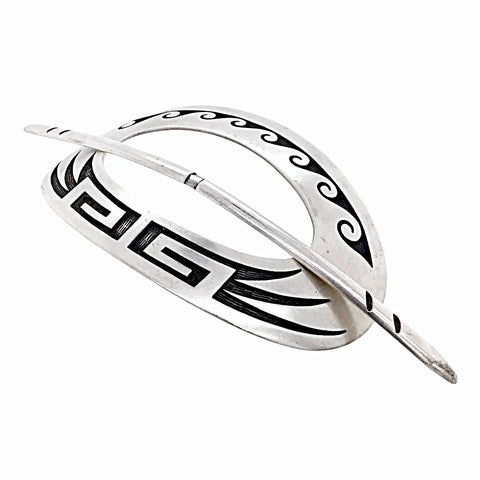 Native American Jewelry - Old Pawn Hopi Sterling Silver Hoop & Pin Hair Barrette - Native American