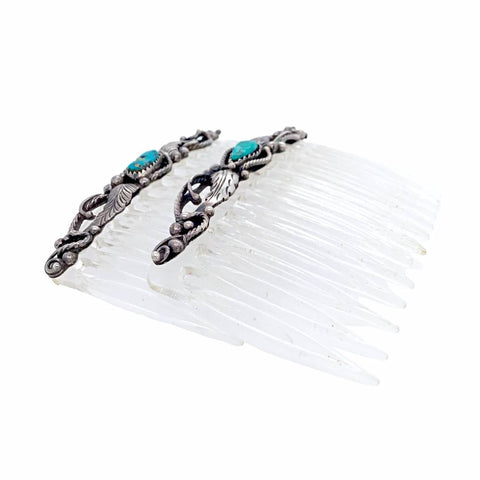 Native American Jewelry - Pair Of Old Pawn Kingman Turquoise Sterling Silver Feather Hair Comb Barrettes - Native American