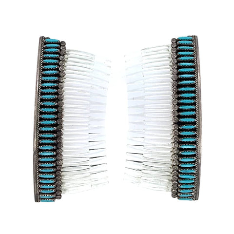 Native American Jewelry - Pair Of Old Pawn Zuni Needlepoint Turquoise Sterling Silver Hair Comb Barrette - Native American