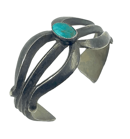 Image of Native American Jewelry - Pawn Navajo Sandcast Turquoise Bracelet