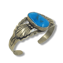 Load image into Gallery viewer, Stamped Navajo Turquoise Pawn Bracelet
