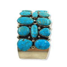 Load image into Gallery viewer, Wide Turquoise Mountain Navajo Bracelet
