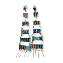 Load image into Gallery viewer, Native American Jewelry - Zuni Chandelier Turquoise Needle Point Earrings - Ophelia Soseeah