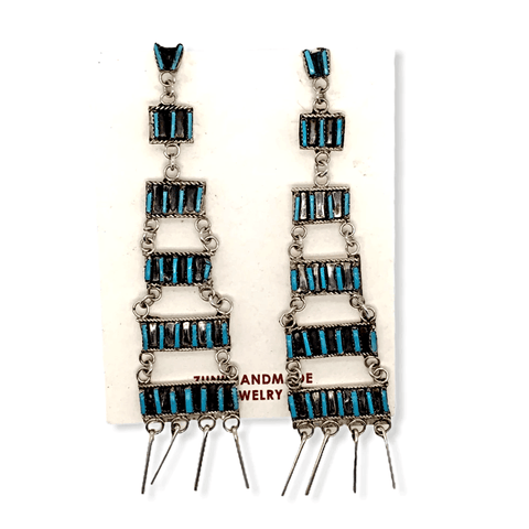 Image of Native American Jewelry - Zuni Chandelier Turquoise Needle Point Earrings - Ophelia Soseeah