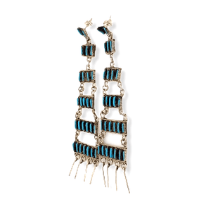 Native American Jewelry - Zuni Chandelier Turquoise Needle Point Earrings - Ophelia Soseeah