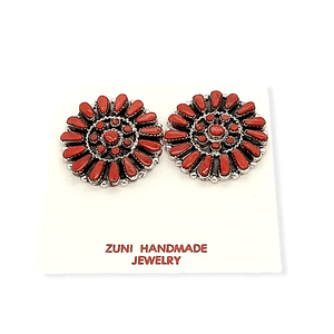 Native American Jewelry - Zuni Coral Petit Point Earrings  -Post