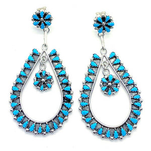 Native American Jewelry - Zuni Handmade Petit Point Turquoise Earrings By Tricia Leekity