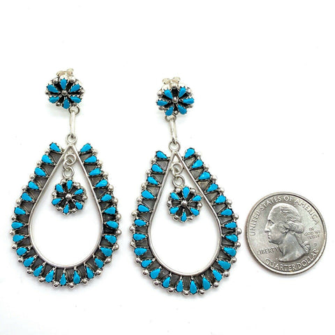 Image of Native American Jewelry - Zuni Handmade Petit Point Turquoise Earrings By Tricia Leekity