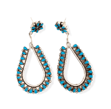 Load image into Gallery viewer, Native American Jewelry - Zuni Handmade Petit Point Turquoise Earrings By Tricia Leekity -Medium
