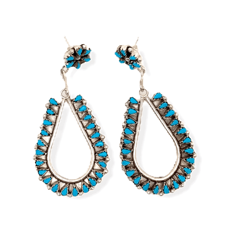 Native American Jewelry - Zuni Handmade Petit Point Turquoise Earrings By Tricia Leekity -Medium