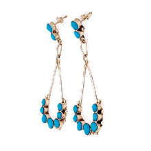 Load image into Gallery viewer, Native American Jewelry - Zuni Handmade Turquoise Dangle Post Earrings By Erma Esalio