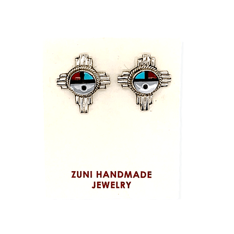 Image of Native American Jewelry - Zuni Inlay Zia Sunface Earrings  -Post