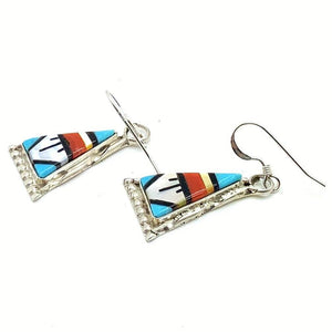 Native American Jewelry - Zuni Multi-Stone Dangle Earrings-Carol Niiha