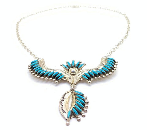 Image of Native American Jewelry - Zuni Needlepoint Turquoise Necklace