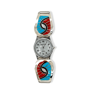 Native American Jewelry - Zuni Sleeping Beauty Turquoise And Coral Swirl Inlay Men's Watch - Amy Quandelacy