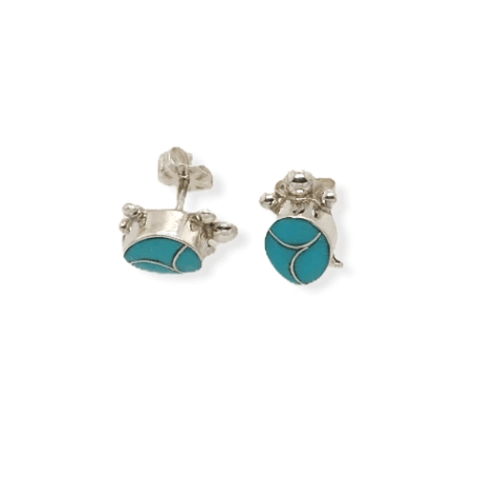 Image of Native American Jewelry - Zuni Sleeping Beauty Turquoise Inlay Turtle Earrings -Post