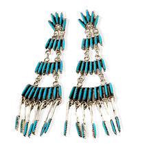 Load image into Gallery viewer, Native American Jewelry - Zuni Sleeping Beauty Turquoise Needle Point Earrings - Chandelier