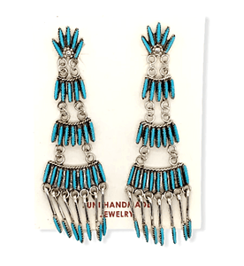 Native American Jewelry - Zuni Sleeping Beauty Turquoise Needle Point Earrings - Chandelier
