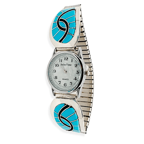 Native American Jewelry - Zuni Sleeping Beauty Turquoise Swirl Inlay Men's Watch - Amy Quandelacy