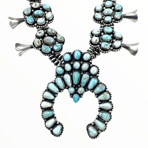 Image of Native American Necklaces - Amazing Navajo Dry Creek Turquoise Squash Blossom Cluster Necklace & Earrings Set - Bea Tom - Native American