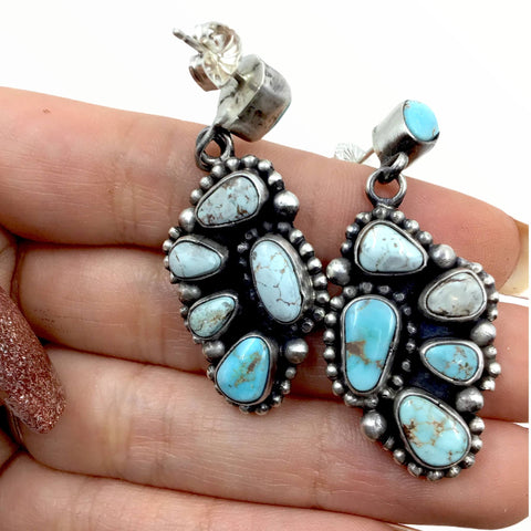 Native American Necklaces - Amazing Navajo Dry Creek Turquoise Squash Blossom Cluster Necklace & Earrings Set - Bea Tom - Native American