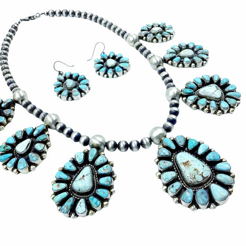 Native American Necklaces - Large Navajo Dry Creek Turquoise Many Stones Cluster Design Necklace & Earrings Set - Kathleen Chavez - Native American