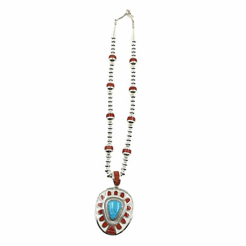 Native American Necklaces - Large Navajo Turquoise & Coral Inlay Necklace - Michael Perry - Native American