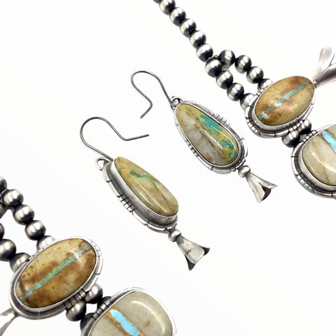 Native American Necklaces - Navajo Boulder Turquoise Squash Blossom Necklace & Earrings Set - Samson Edsitty - Native American