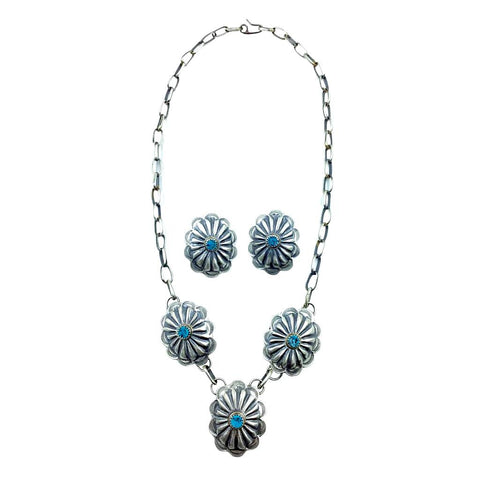 Native American Necklaces - Navajo Concho Kingman Turquoise Oxidized Sterling Silver Necklace Set - Native American