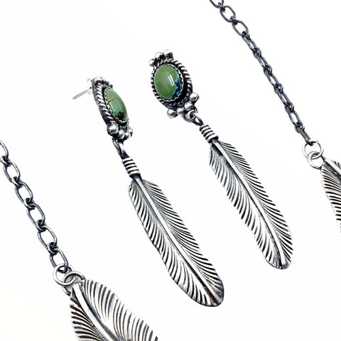 Native American Necklaces - Navajo Double Feather Royston Turquoise Sterling Silver Dangle Necklace & Earrings Set - Native American