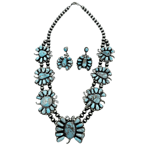 Native American Necklaces - Navajo Dry Creek Turquoise Butterfly Clusters Necklace & Earrings Set - Kathleen Chavez - Native American