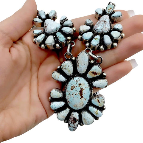 Native American Necklaces - Navajo Dry Creek Turquoise Cluster Design Necklace & Earrings Set - Kathleen Chavez - Native American