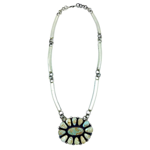 Image of Native American Necklaces - Navajo Dry Creek Turquoise Cluster Necklace - Native American