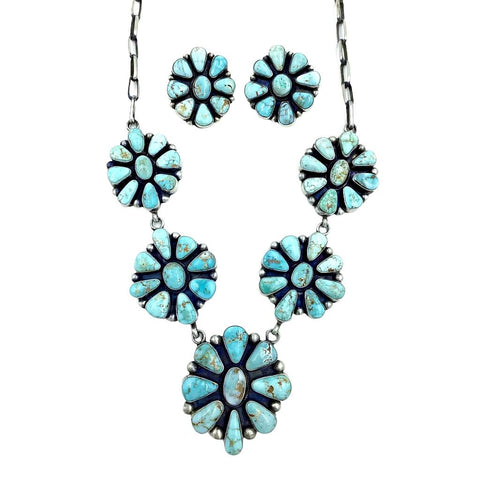 Native American Necklaces - Navajo Dry Creek Turquoise Clusters Dangle Necklace Set - Bea Tom - Native American