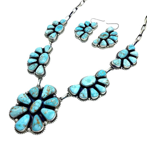 Native American Necklaces - Navajo Dry Creek Turquoise Clusters Dangle Necklace Set - Native American