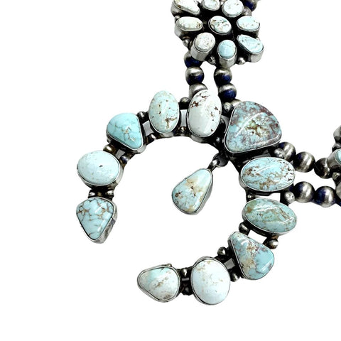 Native American Necklaces - Navajo Dry Creek Turquoise Clusters Naja Dangle Necklace Set - Ella Peters - Native American