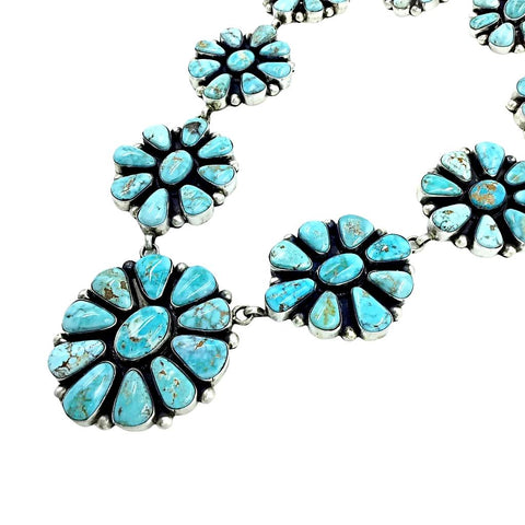 Native American Necklaces - Navajo Dry Creek Turquoise Flower Clusters Dangle Necklace Set - Bea Tom - Native American