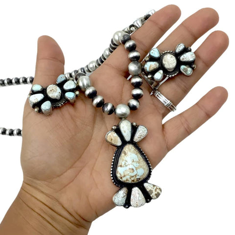 Image of Native American Necklaces - Navajo Dry Creek Turquoise Long Cluster Design Necklace & Earrings Set - Kathleen Chavez - Native American