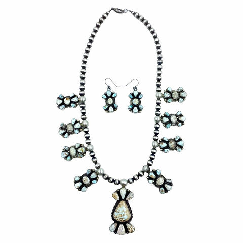 Native American Necklaces - Navajo Dry Creek Turquoise Long Cluster Design Necklace & Earrings Set - Kathleen Chavez - Native American