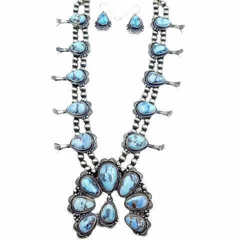 Native American Necklaces - Navajo Golden Hill Turquoise Squash Blossom Stamped Necklace & Earrings Set - Thomas Francisco - Navajo