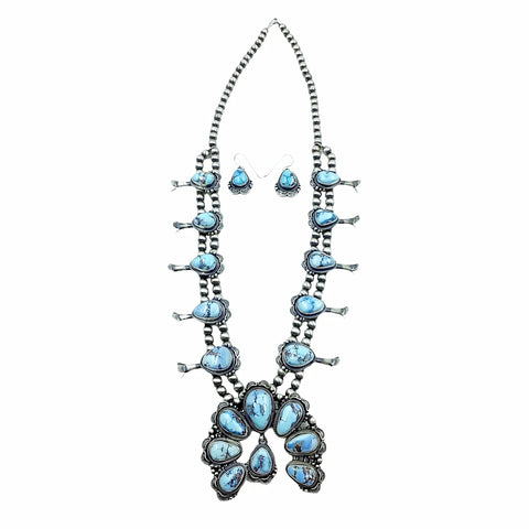 Image of Native American Necklaces - Navajo Golden Hill Turquoise Squash Blossom Stamped Necklace & Earrings Set - Thomas Francisco - Navajo