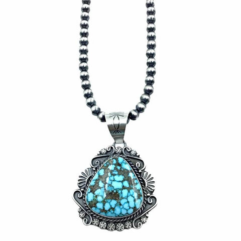 Native American Necklaces - Navajo Kingman Spiderweb Turquoise Sterling Silver Pendant & Navajo Pearls Necklace - Samson Edsitty - Native American