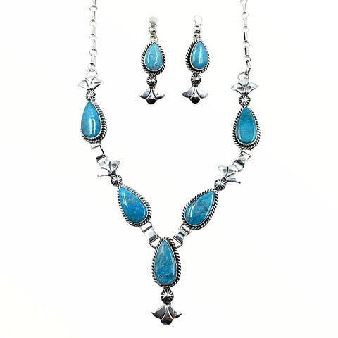 Native American Necklaces - Navajo Kingman Turquoise Teardrop Stone Necklace & Earrings Set - Mary Ann Spencer - Native American