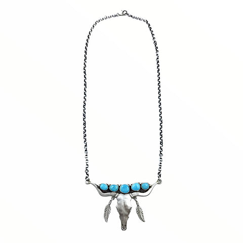 Native American Necklaces - Navajo Longhorn Steer Skull Kingman Turquoise Feather Dangle Necklace - Emer Thompson - Native American