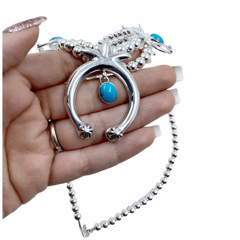 Native American Necklaces - Navajo Naja Turquoise Sterling Silver Squash Blossom Style Necklace & Earrings Set - Native American