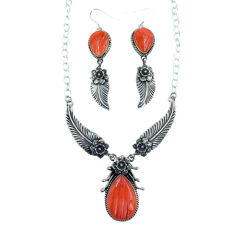 Image of Native American Necklaces - Navajo Orange Spiny Oyster Feather Flower Necklace- L. James - Native American