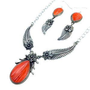 Native American Necklaces - Navajo Orange Spiny Oyster Feather Flower Necklace- L. James - Native American