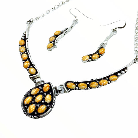 Native American Necklaces - Navajo Orange Spiny Oyster Teardrop Cluster Necklace & Earrings Set - Charles Johnson - Native American