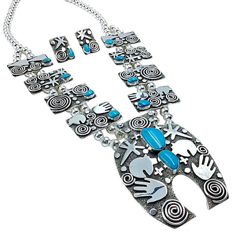 Image of Native American Necklaces - Navajo Petroglyph Design Sterling Silver & Turquoise Squash Blossom Necklace Set - Alex Sanchez - Native American